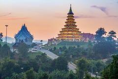 Chinese temple at night, Wat Hyua Pla Kang , Chiang Rai Stock Photos