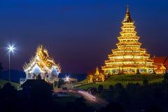 Chinese temple at night, Wat Hyua Pla Kang , Chiang Rai Royalty Free Stock Image