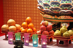 Chinese temple offerings Stock Photo