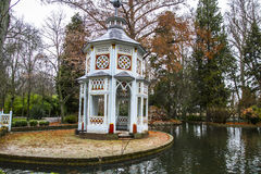Chinese temple, Ornamental fountains of the Palace of Aranjuez,. Ornamental fountains of the Palace of Aranjuez, Madrid, Spain, park Royalty Free Stock Photography