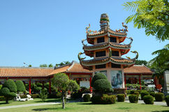 Chinese temple. Pagoda of the Chinese temple with trees in front Royalty Free Stock Photo