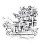 Chinese temple pen drawing sketch illustration Royalty Free Stock Photo