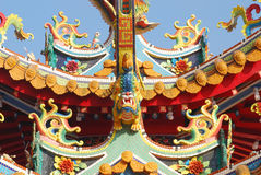 Chinese temple roof. Chinese decoration on oriental temple roof royalty free stock image