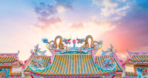 Chinese temple roof, china ancient shrine architecture. Chinese temple roof, china ancient shrine architecture with beautiful sky and copy space stock photo
