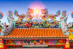 Chinese temple roof, china ancient shrine colorful architecture. With chinese language is name of construction donor royalty free stock image