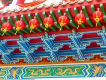 Chinese temple roof details and red lanterns stock photography