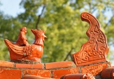 Chinese Temple Roof with Glazed Pottery Royalty Free Stock Images