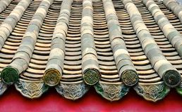Chinese temple roof. Old green clay tiles on a Chinese temple roof royalty free stock photos