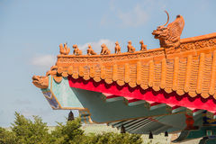 Chinese temple roof tracery. Royalty Free Stock Image
