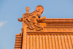 Chinese temple roof tracery. Stock Image