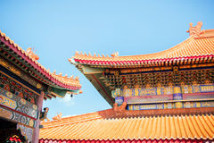 Chinese temple roof tracery. Stock Images
