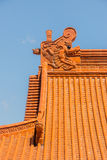 Chinese temple roof tracery. Gabled roof and a beautiful Chinese temple Stock Photo