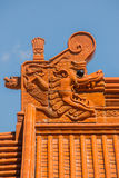 Chinese temple roof tracery. Gabled roof and a beautiful Chinese temple Stock Photography
