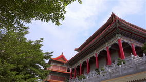 Chinese temple scene in Thailand. Panning shot stock video footage