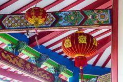 Chinese temple in Semarang Indonesia. Colorful ceiling with lampion in Vihara Watugong  Chinese Buddhist temple in Semarang, Central Java, Indonesia Stock Image
