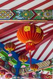 Chinese temple in Semarang Indonesia. Colorful ceiling with lampion in Vihara Watugong  Chinese Buddhist temple in Semarang, Central Java, Indonesia Royalty Free Stock Images