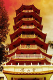 Chinese Temple - Seven Level Pagoda - Red Tone Stock Images