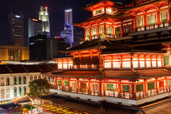 Chinese Temple in Singapore Chinatown Stock Photo