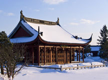 Chinese Temple In The Snow. A Magnificent Chinese Temple in the snow, during winter Royalty Free Stock Photography
