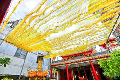 Chinese temple with some beautiful yellow decorations in Kaohsiung, Taiwan Royalty Free Stock Photo