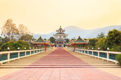 Chinese temple on sunset Royalty Free Stock Images