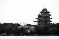 Chinese Temple - Suzhou. Chinese Temple Suzhou China 2014 Noon Black White BW B&W Royalty Free Stock Photos