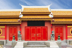 Chinese Temple in Thailand against blue sky. Stock Photos