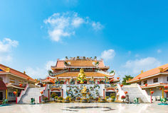 Chinese temple under blue sky in Thailand, They are public domai Royalty Free Stock Photo
