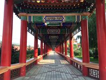 Chinese temple walkway Stock Photos