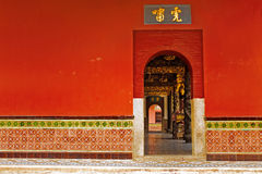 Chinese temple wall. Bright red Chinese Buddhist temple exterior wall Stock Photos