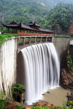 Chinese temple with waterfall Stock Photos