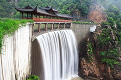 Chinese temple with waterfall Stock Image