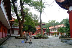 Chinese Temple yard. Arrangement inside royalty free stock photo
