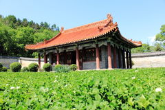 Chinese temple on the farm stock photos