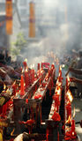 Chinese Temples. Prayers, blessings and red people burn incense burning candles Stock Photo