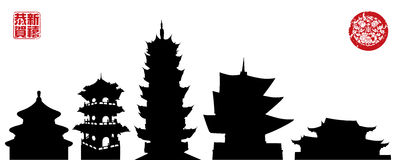 Chinese Temples. 5 silhouettes of Chinese temples Royalty Free Stock Image