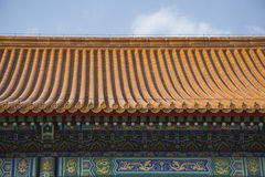 Chinese Terra Cotta Roof and Ornate Walls Stock Photos