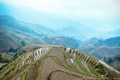 Chinese terraces and village Stock Photos