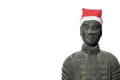 Chinese terracotta warrior statue with santa hat Stock Photos