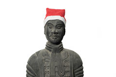 Chinese terracotta warrior statue with santa hat Stock Photography