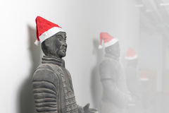 Chinese terracotta warrior statues with santa hat Royalty Free Stock Photography