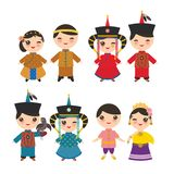 Chinese Thai Mongolian Kawaii boy and girl in national costume and hat. Cartoon children in traditional Thailand dress isolated on. White background. Vector vector illustration