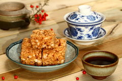 Chinese theeceremonie en cake Royalty-vrije Stock Fotografie