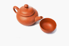 Chinese theepot voor thee op een witte achtergrond Royalty-vrije Stock Foto