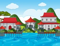 Chinese theme background with buildings by the river Stock Photos