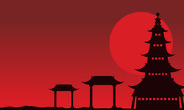 Chinese theme landscape of silhouettes. Vector art Stock Photography