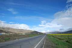 Chinese Tibet highway. Tibet is located in the China Lazi County Highway Royalty Free Stock Photography
