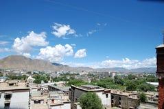 Chinese Tibet Shigatse. At noon, the sun of Tibet Shigatse City Stock Photos