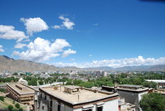 Chinese Tibet Shigatse. At noon, the sun of Tibet Shigatse City Stock Photo