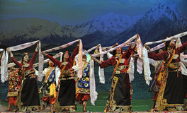 Chinese Tibetan ethnic dancers Royalty Free Stock Images